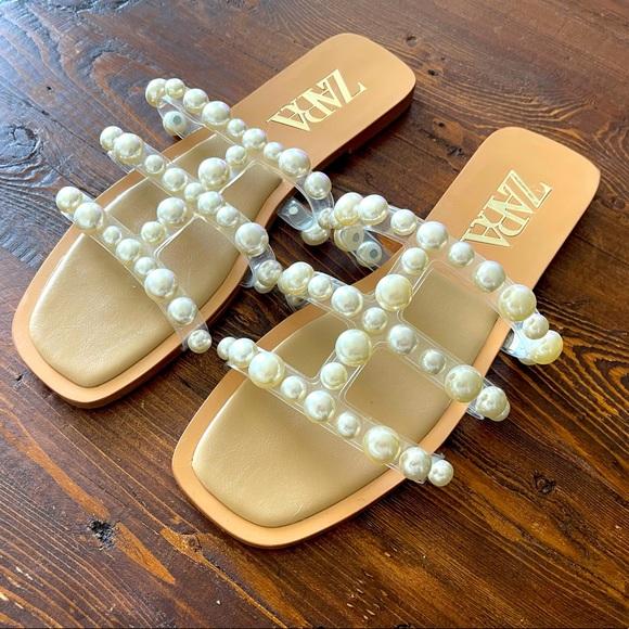 Zara Pearl Slide Sandals Size 37
